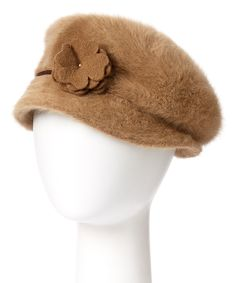 Look at this Downtown Style Camel Flower Angora-Blend Cabbie Hat on #zulily today!