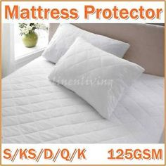 $35.95/free delivery   Features: Poly Cotton cover with 125GSM microfibre fill Strap fit or Fully fitted with 38cm walls  Protect your valuable mattress Easy care machine washable Generous filling Non allergenic   Package Contents: 1 quilted mattress protector 125GSM