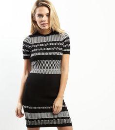 Black Textured Stripe Short Sleeve Bodycon Dress | New Look