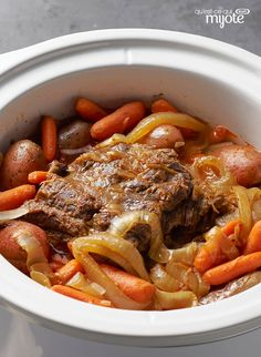 Try our succulent Slow-Cooker Pot Roast recipe. Enjoy this easy slow cooker pot roast recipe as soon as you step through the door after work. Crockpot Dishes, Crock Pot Slow Cooker, Crock Pot Cooking, Beef Dishes, Slow Cooker Recipes, Cooking Recipes, Crock Pots, What's Cooking, Beef Pot Roast