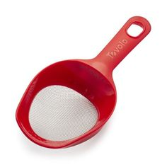 "Tovolo 1-Cup Scoop 'n' Sift - NEW!  $9.00   SKU:  2744050.  This gadget allows you to scoop up flour, powdered sugar or cocoa & then sift it w/ one hand. Ergonomic design is comfortable to grip, so you can effortlessly break up lumps & aerate flour.  The Scoop 'n' Sift holds exactly 1 cup. •Scoop & sift with one hand, using one tool. • •Dimensions: 9"" x 3.75"" x 2"""