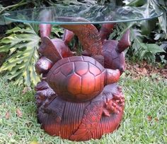 Hand Carved Mahogany Wood Sea Turtle Glass Top Table Sculpture Tropical Sea Life