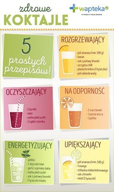 Infografika o koktajlach Apple Smoothies, Healthy Smoothies, Healthy Drinks, Healthy Recipes, Smoothie Drinks, Smoothie Recipes, Clean Eating Snacks, Healthy Eating, Blackberry Smoothie