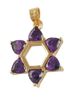 Gold Filled and Amethyst Star of David Pendant