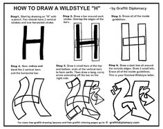 How-to-draw a Wildstyle letter H by Graffiti Diplomacy