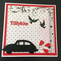 Kort / card Bryllup / wedding Bil / car