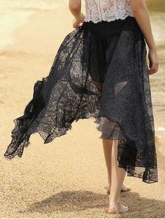 Full Lace Black High Waist Skirt - BLACK S