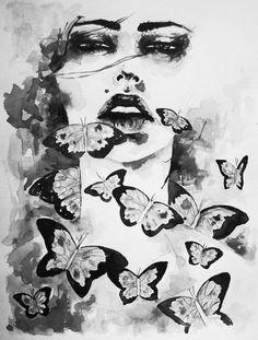 butterflies in pen and ink