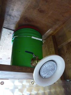 Idea for easy shower for off grid cabin. If you want hot water, fill bucket with water you've heated on the stove or over a campfire.