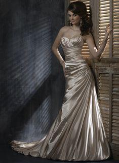 Demir Stretch Satin A-line Strapless Sweetheart Neckline Wedding Dress Maggie Sottero Wedding Dresses, Wedding Dresses 2014, Bridal Dresses, Wedding Gowns, Dresses Dresses, Wedding Attire, Gold Wedding, Wedding Reception, Bridesmaid Dresses