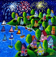 Fun Whimsical Fireworks 4th of July Sailboats by reniebritenbucher