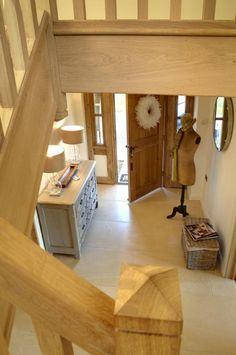 House Stairs, Cottage Staircase, Oak Stairs, Border Oak, Brook House, Oak Framed Buildings, Oak Frame House, Porch Windows, Hallway Designs