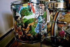 Custom collaged drum set