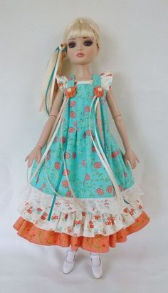 Aqua and Coral Dress for Ellowyne Tonner Doll by Apple