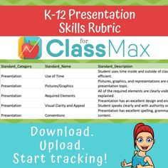 Turn what you see in your classroom into useful data to drive instruction. Upload our presentation rubric for your ClassMax progress monitoring. With ClassMax, tracking student progress is as easy as three clicks - no overtime or bubble sheet required! Student Presentation, Presentation Pictures, Presentation Topics, Tracking Student Progress, Progress Monitoring, Classroom Games, Classroom Management, Classroom Decor, Letter Identification