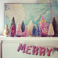 vintage bottle brush Christmas trees :: merry mantle by Andrea Jenkins Primitive Christmas, Noel Christmas, All Things Christmas, Winter Christmas, Pink Christmas, Beautiful Christmas, Holiday Crafts, Holiday Fun, Holiday Ideas
