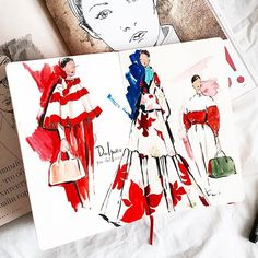 Fashion illustration by @marina_sidneva fashion sketch, drawing, art #sketch #fashionsketch