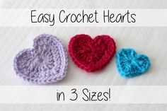 In this video you'll learn to crochet these easy beginner friendly little hearts in three sizes - small, medium, and large! This is an easy motif that can be...