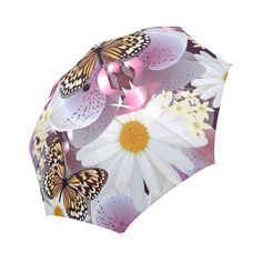 Butterflies Daisies Beautiful Floral Pattern Auto-Foldable Umbrella