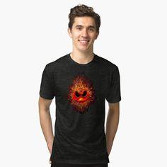 Fire Ghost Tri-blend T-Shirt #tee #tshirt #mens #triblend #clothing #sugar #floral #sugarskull #dayofthedead #halloween #voodoo #indian #native #tattoo #aztec #olmec #mayan #mandalas #dreamcatcher #dreamscape #abstract #VanGogh