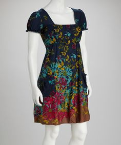 Take a look at this Navy Floral Square Neck Dress by Reborn Collection on #zulily today!