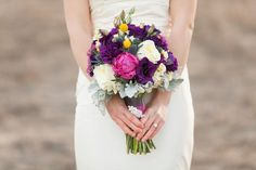 Purple, Pink and white Wedding bouquet
