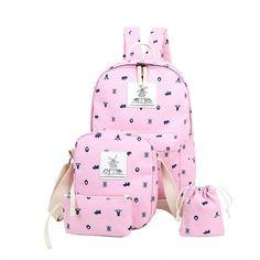 6215ef2c5b8a 4PCS Women Canvas Backpack Student School Bag Cute Printing Backpack For  Teenage Girls Bookbag Woman Travel