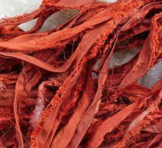paprika recycled silk sari ribbon