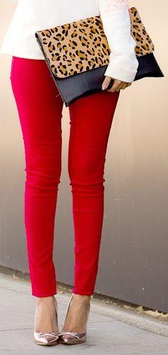 Red skinny jeans + metallic heels