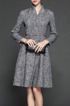 Gyalwana Gray A Line Surplice Stand Collar Dress | Knee Length Dresses at DEZZAL