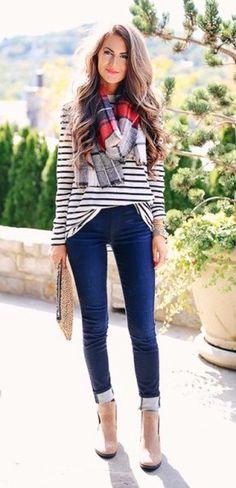 winter  fashion    Striped Tee    Printed Scarf    Skinny Jeans f9f49dccc5f
