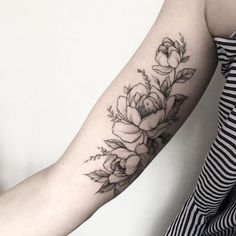 Arm tattoos for women upper, bicep tattoo women, inner bicep tattoo Inner Upper Arm Tattoos, Arm Tattoos For Women Upper, Tattoos For Women Flowers, Bicep Tattoo Women, Inner Forearm Tattoo, Bicep Tattoos, Script Tattoos, Arabic Tattoos, Pretty Tattoos