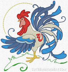 Rooster - Cute Embroidery Designs.