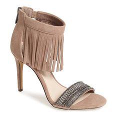 Women's Vince Camuto 'Trumen' Fringe Sandal (€120) ❤ liked on Polyvore featuring shoes, sandals, heels, sapatos, beige, ankle strap sandals, fringe shoes, retro sandals, vince camuto sandals and heeled sandals