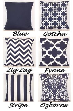 Navy and White Navy and White PILLOW COVER by Cathyscustompillows