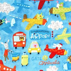 Airport airplane canvas designer fabric by Nancy Wolff
