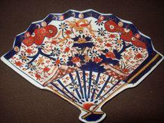 Rarely found old Large and unusual Japanese Arita Imari Fan shaped ...