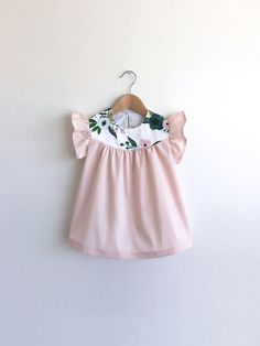 girls petal pink cotton dress with floral detail by SwallowsReturn