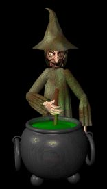 Moving animated ugly old witch standing over her cauldron stirring up a really wicked potion for Halloween