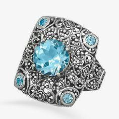 New! Sterling Silver Ornate Blue Topaz