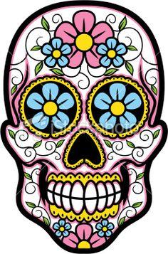 Sugar Skull Flowers Royalty Free Stock Vector Art Illustration