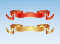 Set of two vector satin ribbon designs. Graphics come in gold and red with gold stripes set on a blue gradient with halftone pattern background. Download these elegant satin banners and create cool t-shirts, posters, logos, flyers, invitations and traditional heraldry or medieval themed designs. Traditional banner vector art by GreatVectors.com