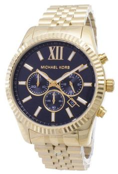 481339a291ca Michael Kors Lexington Chronograph Black Dial Gold-tone MK8286 Mens Watch. Stainless  Steel ...