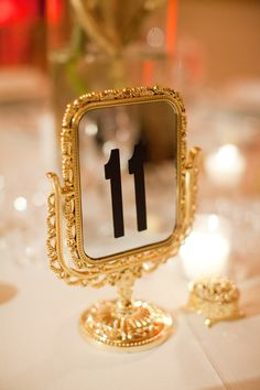 Old Hollywood Wedding Inspiration - gilded mirror table numbers! Decoration Baroque, Decoration Table, Reception Decorations, Reception Seating, Reception Ideas, Old Hollywood Wedding, Old Hollywood Glam, Hollywood Theme, Gold Wedding