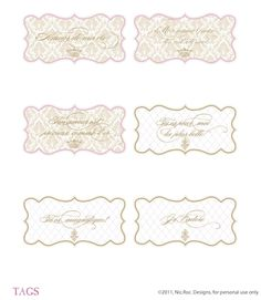 FRENCH ELEGANCE | Homemade  Free Printable Suite by Couture Events {Gift tags, love flags, place cards, love poems, blank menus…} | The Knotty Bride™ Wedding Blog + Wedding Vendor Guide
