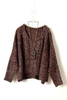 Brown Long Sleeve Batwing Wool Pullovers Sweater pictures