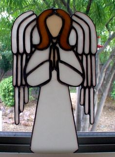 Angel made of stained glass and copper foil