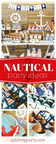 Don't miss this wonderful Nautical and Sailing birthday party! The party decorations are awesome!! See more party ideas and share yours at CatchMyParty.com #nautical #boybirthday
