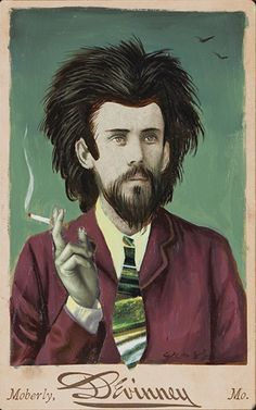 """""""The Smoker"""" Altered Cabinet Card by Alex Gross"""
