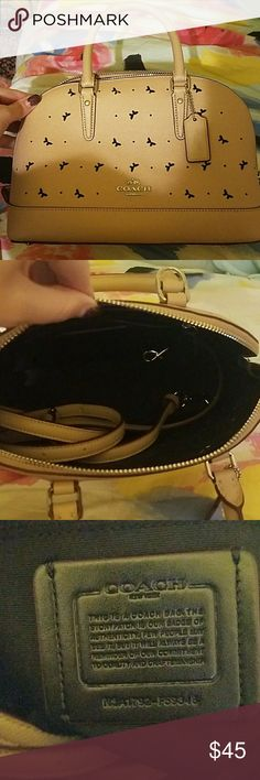 NWOT Coach Mother's Day 2017 edition Tan color. Long shoulder strap included. Butterfly cutouts Coach Bags Totes
